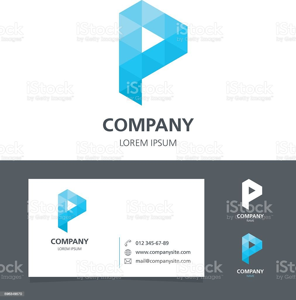 Letter P - Logo Design Element with Business Card - illustration royalty-free letter p logo design element with business card illustration stock vector art & more images of abstract