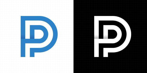 stockillustraties, clipart, cartoons en iconen met letterpictogram p logo - letter p