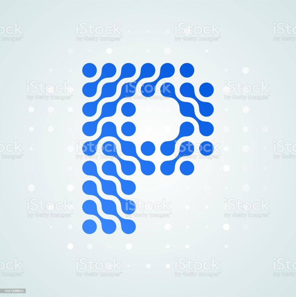 P Harfi Logo Modern Noktali Resim Simge Vektor Duz Mektup P