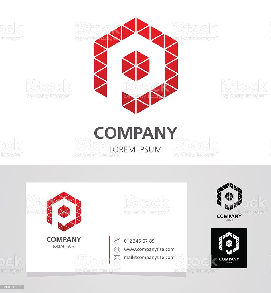 Letter P -Logotype Design Element with Business Card - illustration vector art illustration