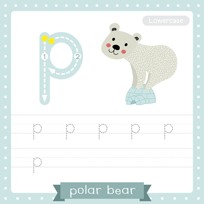 Letter P lowercase tracing practice worksheet of Polar Bear standing on igloo