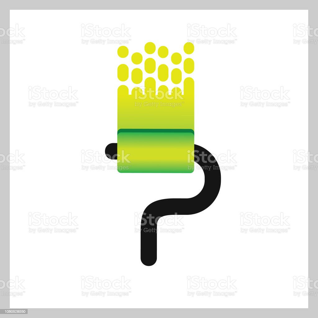 Letter P roll brush paint Logo