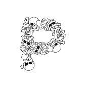 Letter P skeleton Bones Font. Anatomy of an alphabet symbol. dead ABC sign
