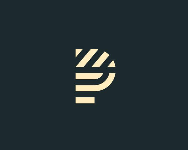 stockillustraties, clipart, cartoons en iconen met brief-p vector teken motief met lijnen. creatieve minimalisme logo pictogram symbool. - letter p