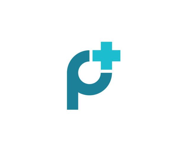 stockillustraties, clipart, cartoons en iconen met letter p met kruis en plus pictogram embleemontwerp - letter p