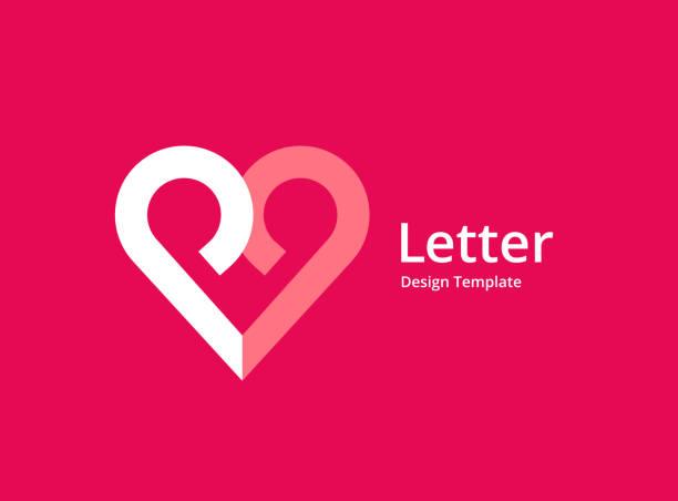 stockillustraties, clipart, cartoons en iconen met letter p met hart pictogram embleemontwerp - letter p