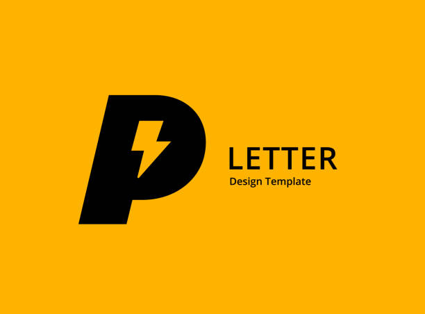 stockillustraties, clipart, cartoons en iconen met letter p met lightning logo icon design - letter p