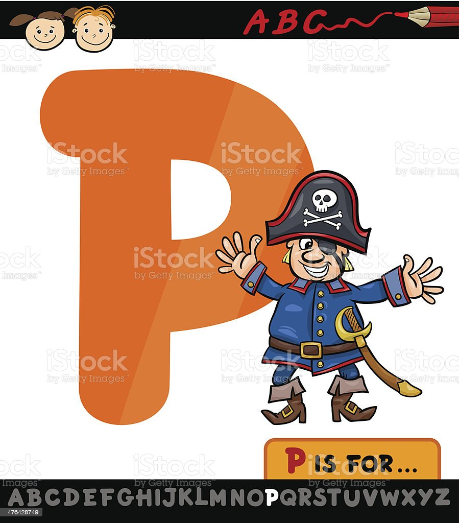 letter p with pirate cartoon illustration royalty-free stock vector art