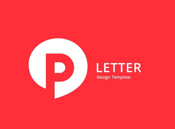 stockillustraties, clipart, cartoons en iconen met letter p met spraak bubble logo icon design - letter p