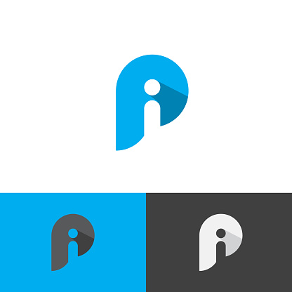 Letter Pi simple symbol vector template in blue color