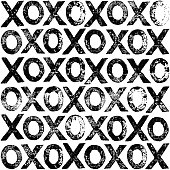 XOXO Letter Print Black And White Pattern. An original artwork vector illustration of XOXO print pattern. This inspirational flat design can be a postcard, invitation, web banner, shop window, poster or flyer.