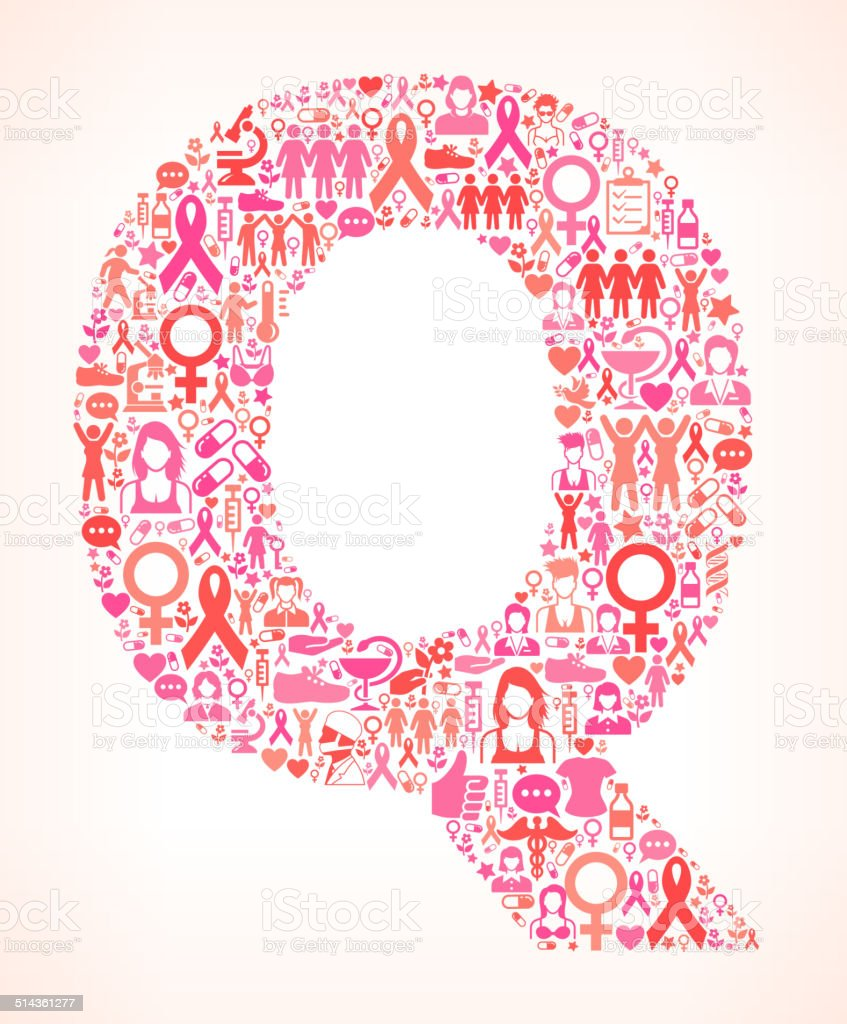 Letter Q Breast Cancer Awareness Royalty Free Vector Art Pattern ...