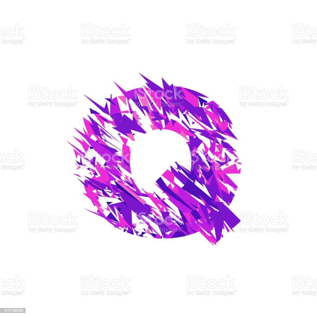 Letter Q, broken into a splinters. vector art illustration