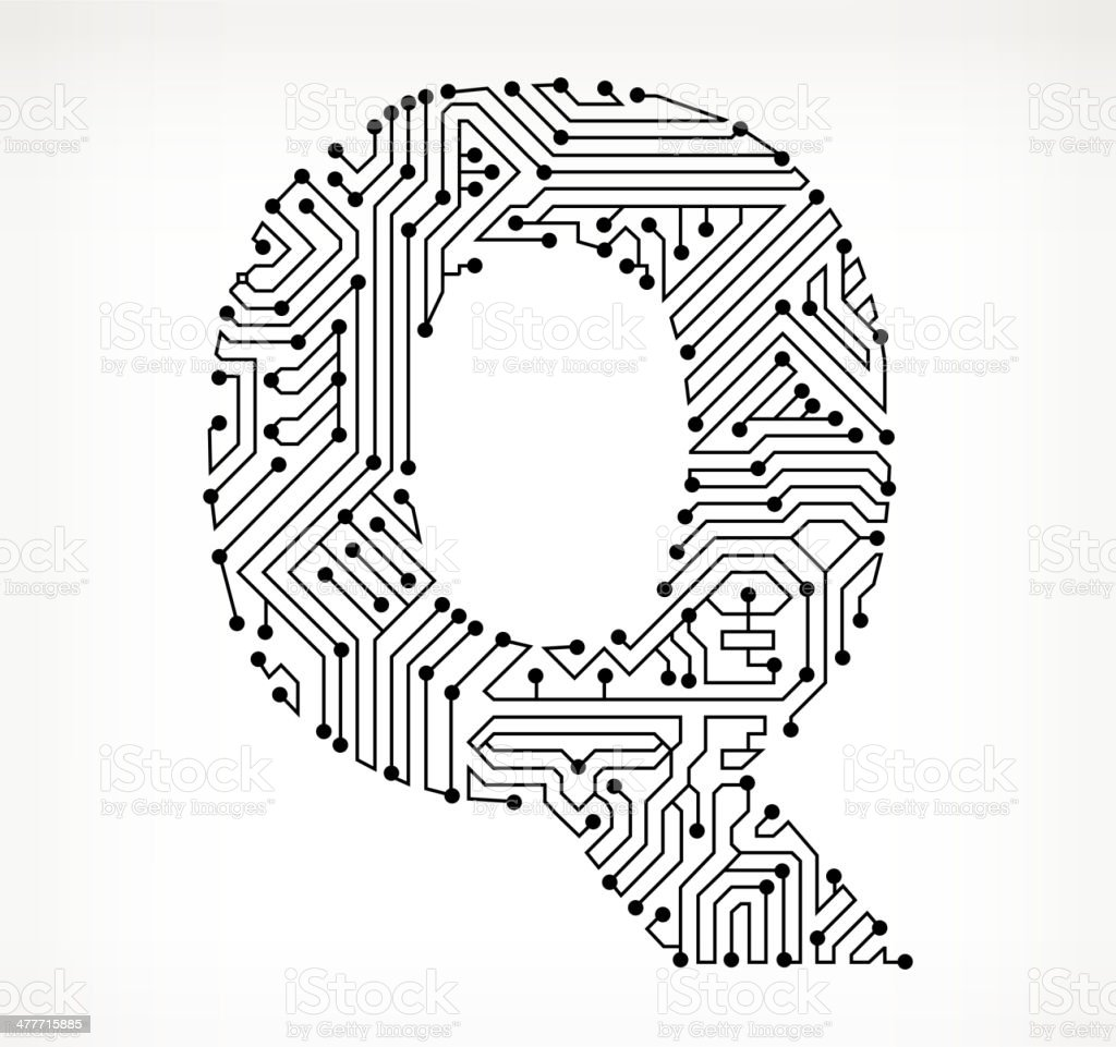 letter q circuit board on white background stock vector