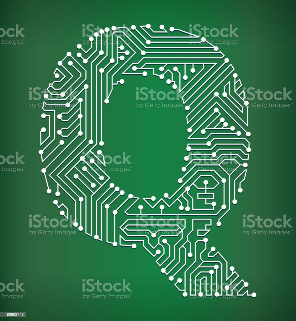 Circuit Board Art Vector Download Free Background Ai Graphics Letter Q Royalty Stock