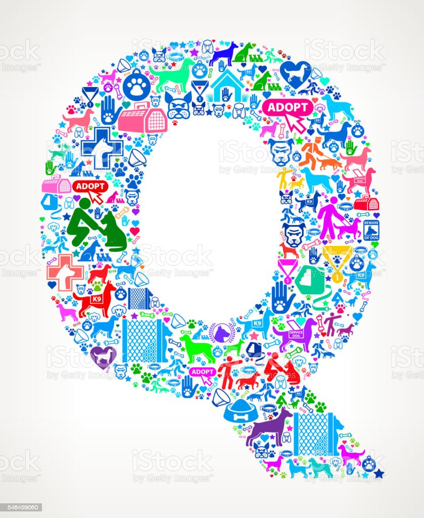 Letter q dog and canine pet colorful icon pattern stock vector art letter q dog and canine pet colorful icon pattern royalty free letter q dog and buycottarizona Image collections