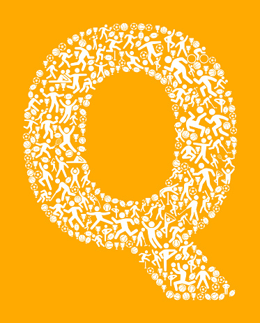 Letter Q Fitness Sports and Exercise pattern vector background