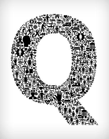 Letter Q Flu Coronavirus Icon Pattern