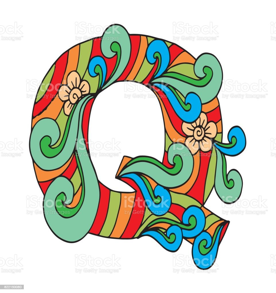 Letter Q For Coloring Vector Decorative Object Illustration Computer ...