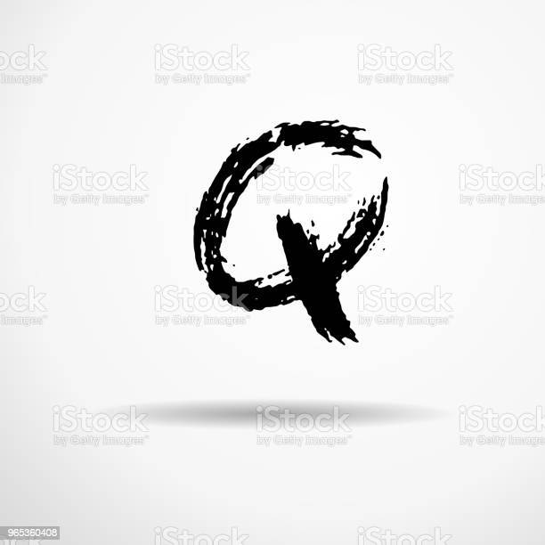 Litera Q Odręcznie Pisaną Suchą Szczotką Szorstkie Obrysy Teksturowane Czcionki Ilustracja Wektorowa Alfabet W Stylu Grunge - Stockowe grafiki wektorowe i więcej obrazów Alfabet