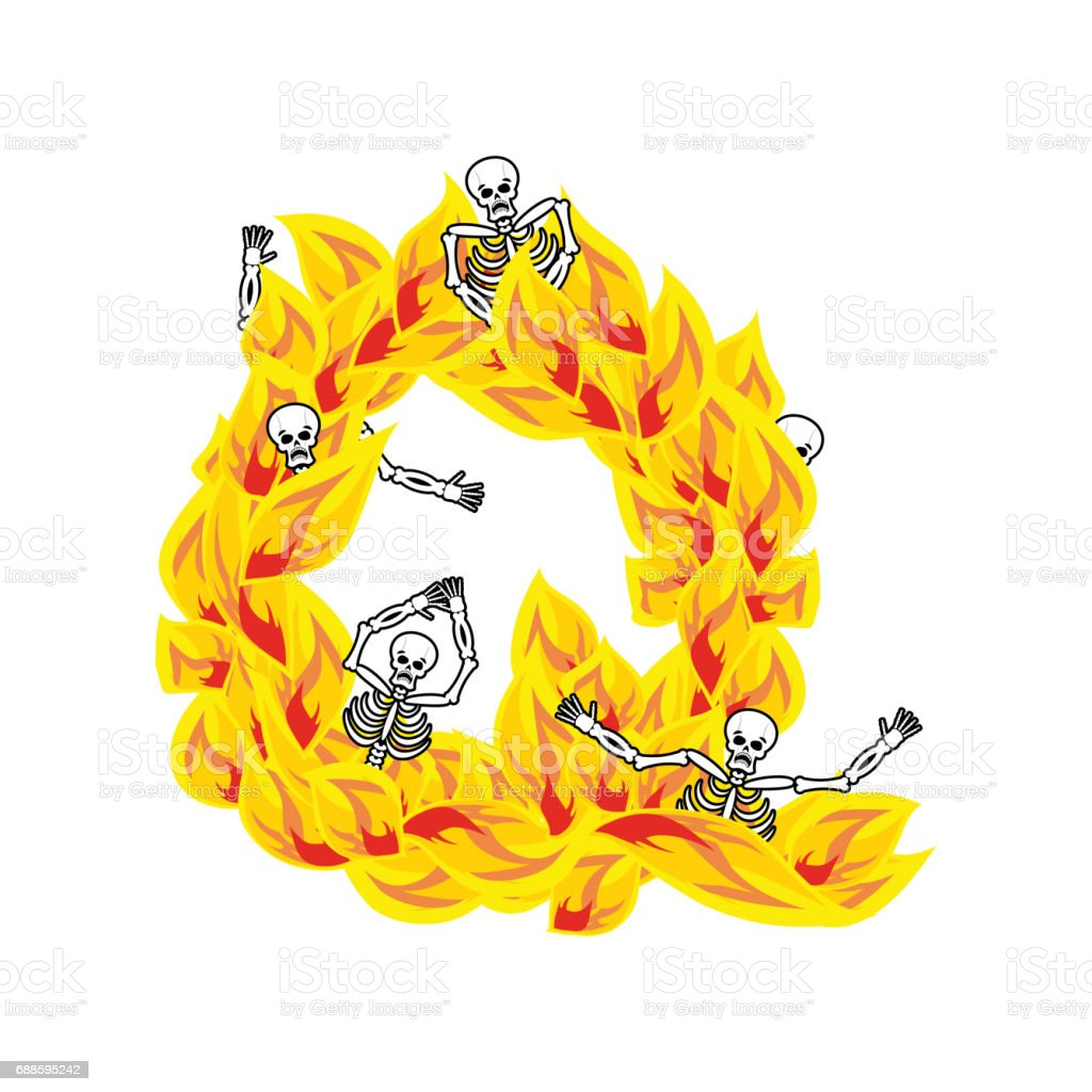 Letter Q Hellish Flames And Sinners Font Fiery Lettering