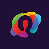 Letter Q icon at colorful multicolor splash background.