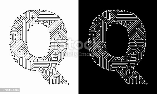 Letter Q in Black And White Circuit Board Font. The text is rendered with the circuit board linear pattern and creates a seamless pattern that completely fills the outline of the text. The pattern is ideal for technology and innovation concepts. Two variations include in this illustration. The black wireframe circuit board in black on white background and the reverse white text on the black background.