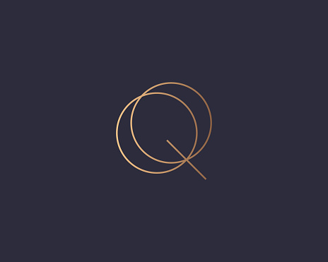 Letter Q logo monogram, minimal style identity initial logo mark. Golden gradient parallel lines vector emblem logotype for business cards initials invitations ect.