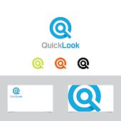 Letter Q or Magnifying Glass Symbol With Business Card Template
