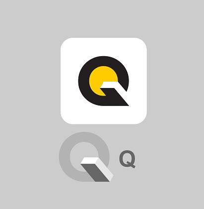 Letter Q related to the book. Logo. Vector.