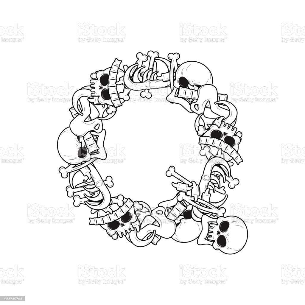 Ilustración de Esqueleto Huesos Fuente De Letra Q Anatomía De Un ...