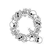 Letter Q skeleton Bones Font. Anatomy of an alphabet symbol. dead ABC sign