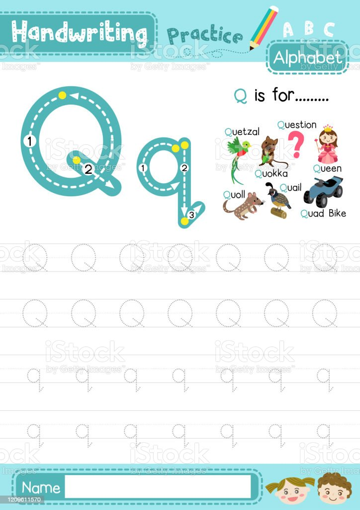 Letter Q Uppercase And Lowercase Tracing Practice Worksheet A4 Stock  Illustration - Download Image Now - IStock
