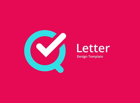 Letter Q with check mark logo icon design