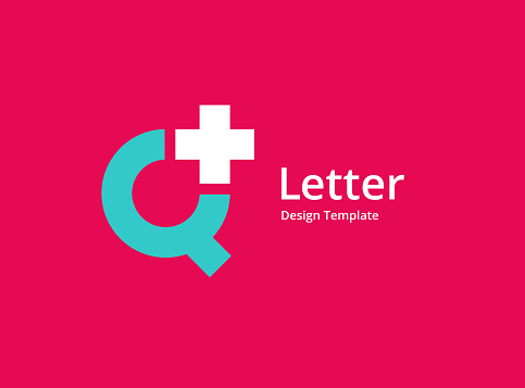 Letter Q with cross or plus medical logo icon design