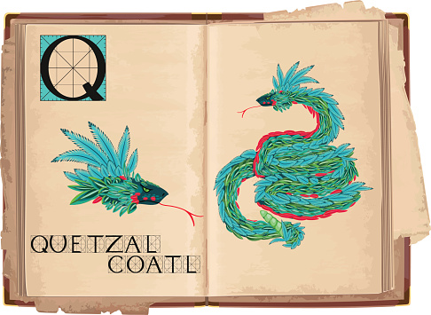 letter Q with Quetzalcoatl