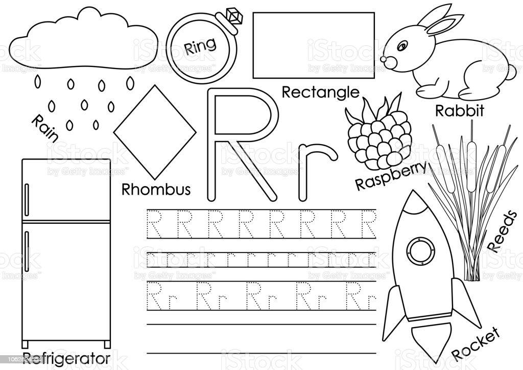 Ilustración De Letra R Tarjeta Con Fotos Y Escritura Práctica Para