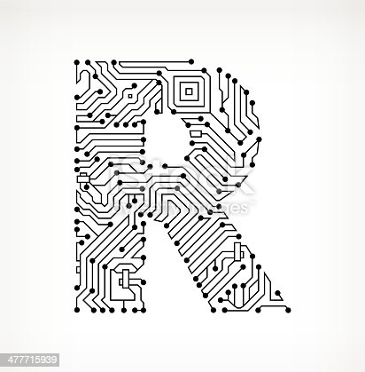 Letter R Circuit Board On White Background Stock Vector