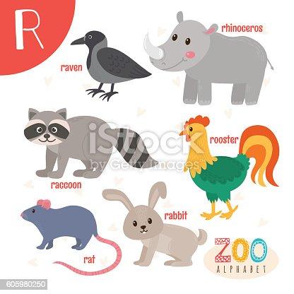 Letter R. Cute animals. Funny cartoon animals in vector. ABC book. Vector illustration