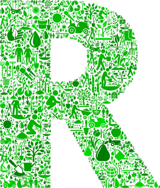 Royalty Free Letter R Farming And Agriculture Green Icon Pattern ...
