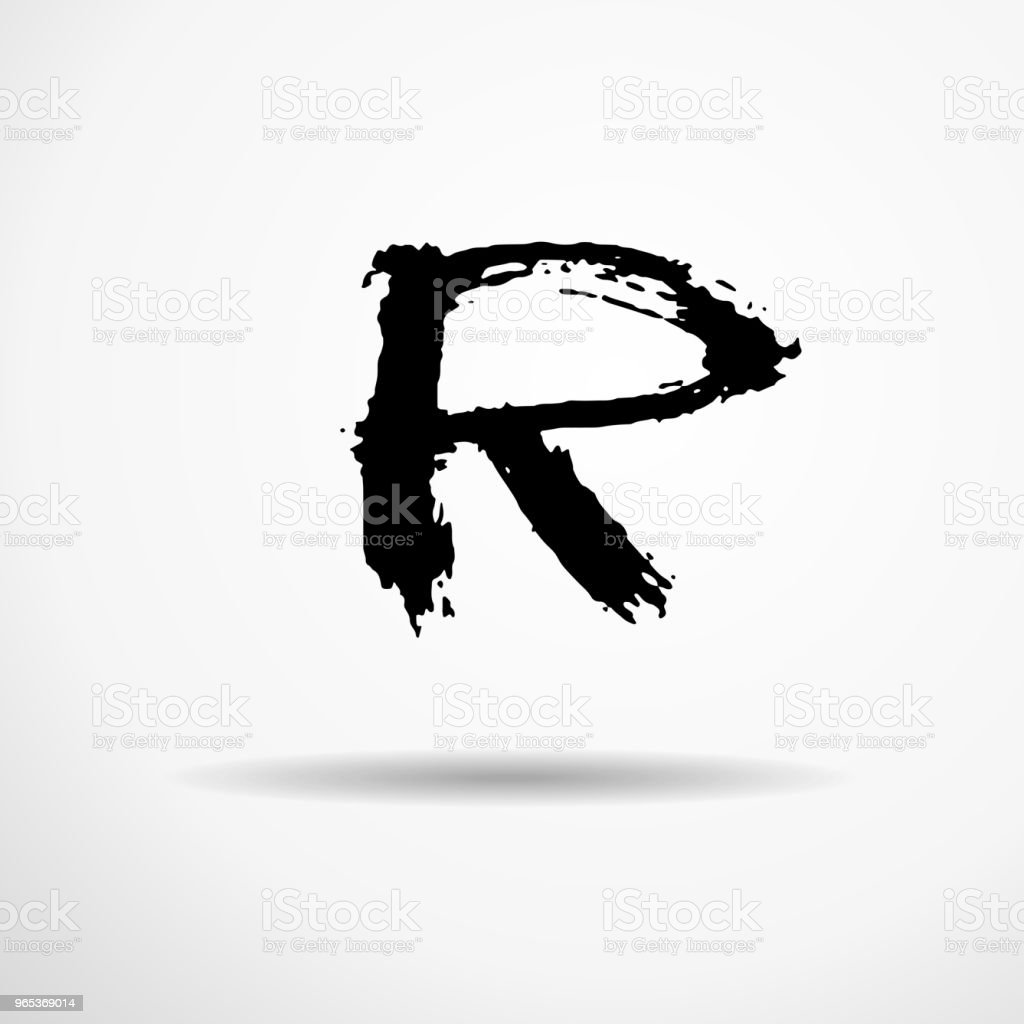Letter R. Handwritten by dry brush. Rough strokes textured font. Vector illustration. Grunge style alphabet. letter r handwritten by dry brush rough strokes textured font vector illustration grunge style alphabet - stockowe grafiki wektorowe i więcej obrazów alfabet royalty-free