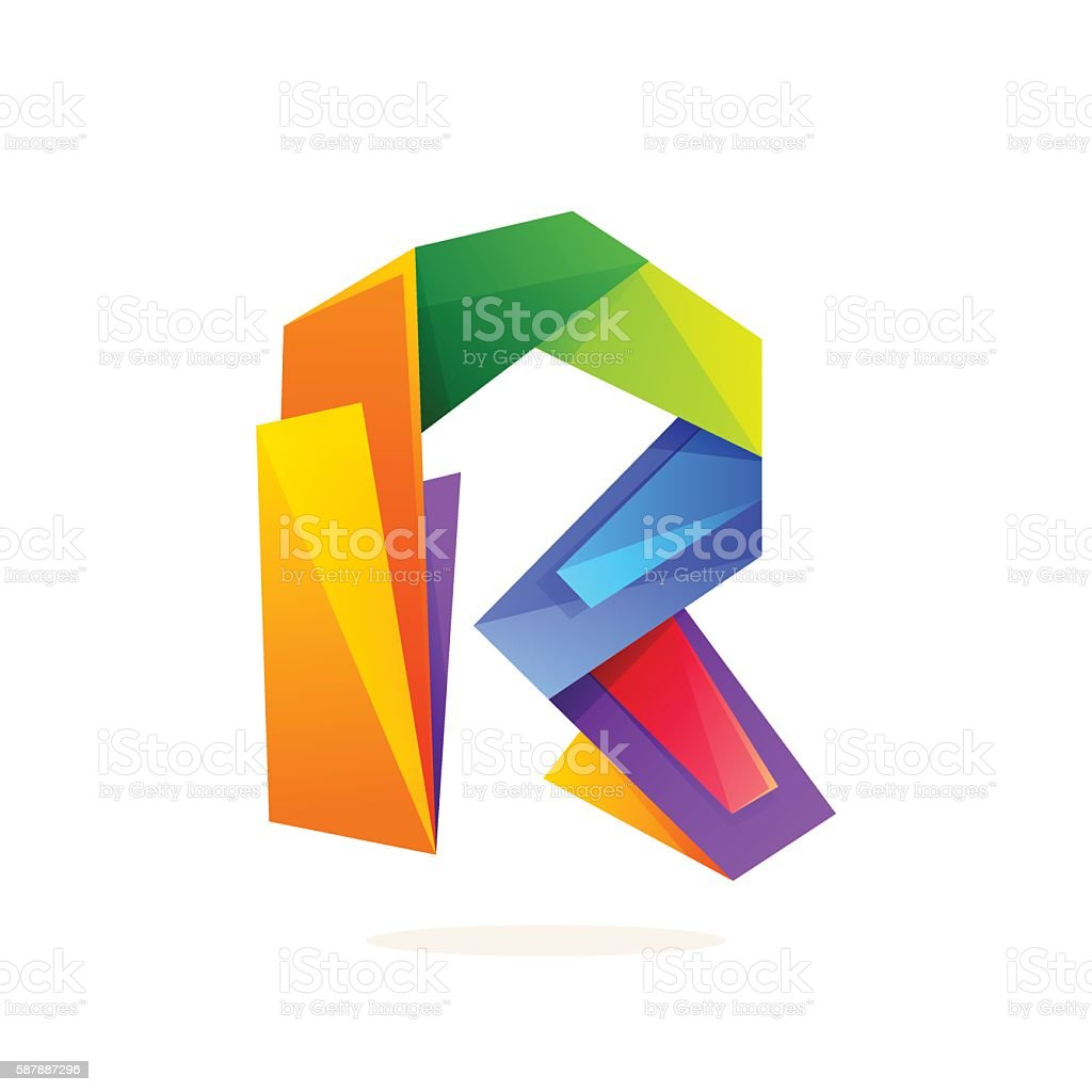 Letter R Icon In Low Poly Style Royalty Free