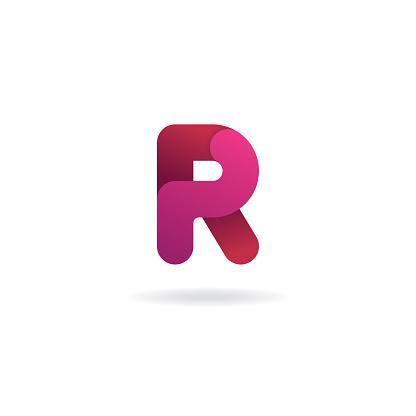 Letter R icon. Vector icon design template. Color sign.