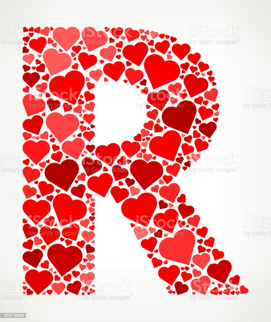 Letter R Icon With Red Hearts Love Pattern Stock Vector Art & More ...