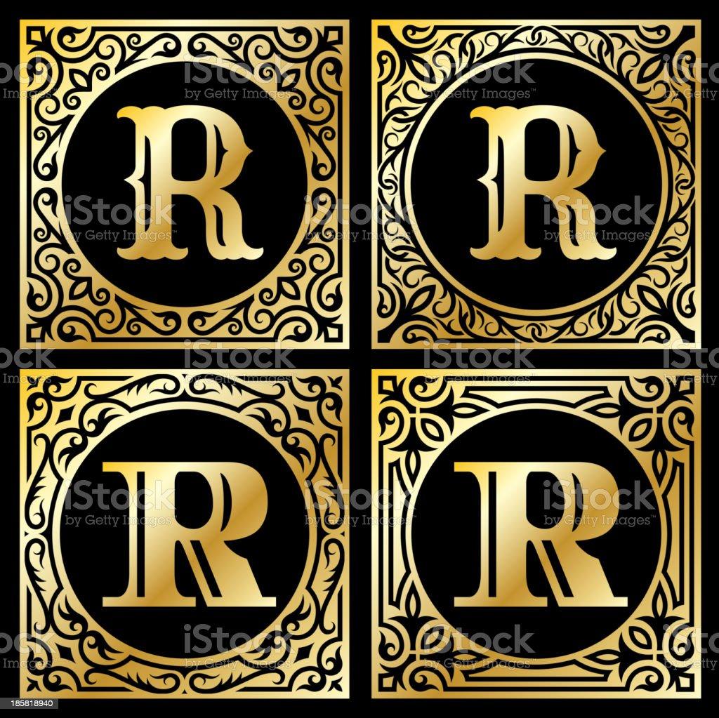 Letter R in Golden Frame royalty-free letter r in golden frame stock vector art & more images of alphabet
