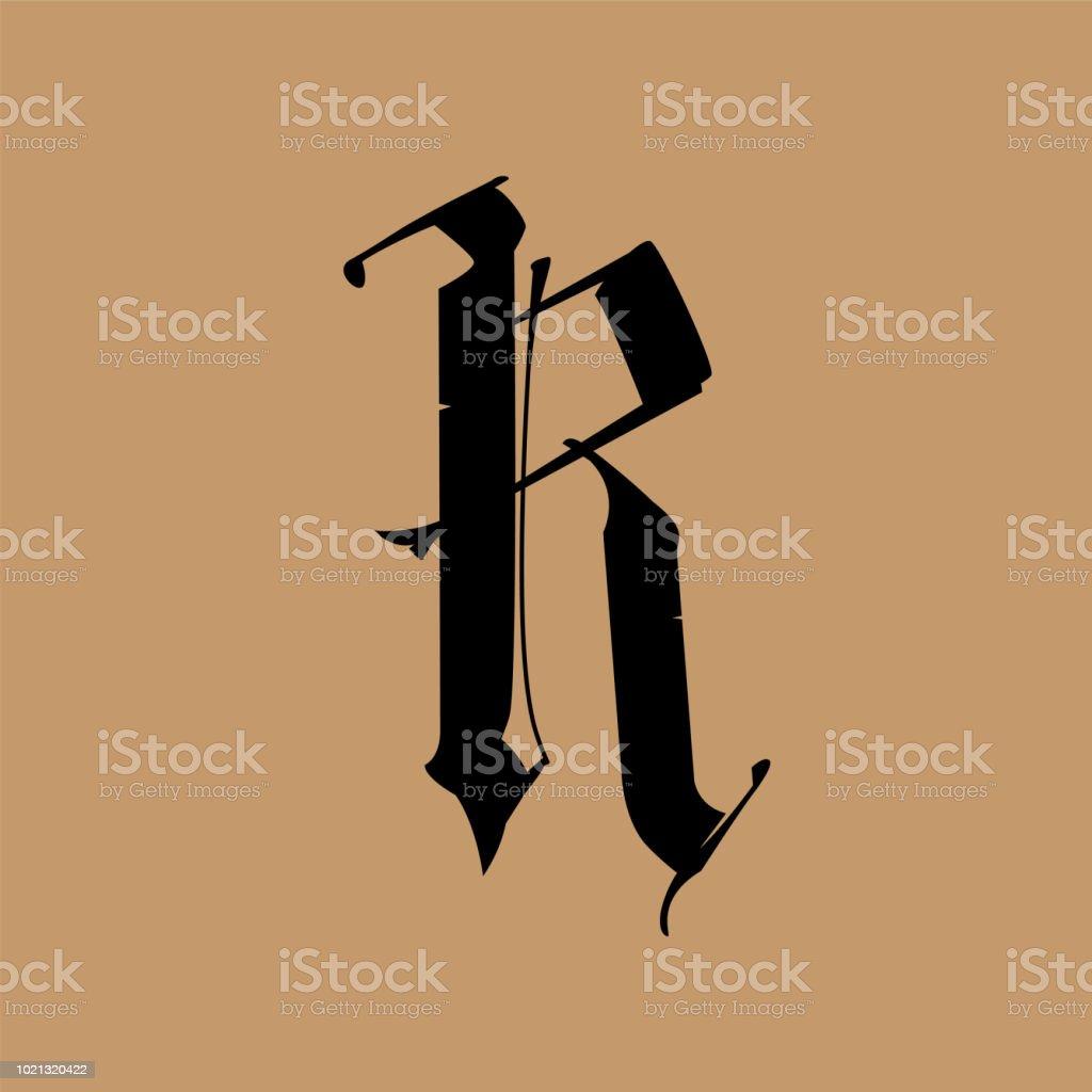 Lettre R Dans Le Style Gothique Vector Alphabet Le Symbole Est Isole