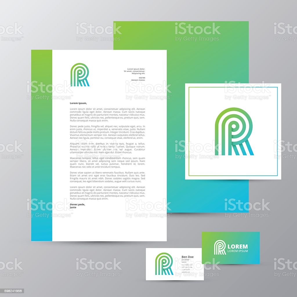 Letter R Logo Letterhead And Business Card Brand Identity Stock ...