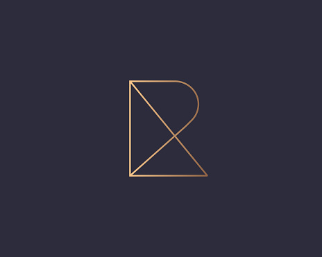 Letter R logo monogram, minimal style identity initial logo mark. Golden gradient parallel lines vector emblem logotype for business cards initials invitations ect.