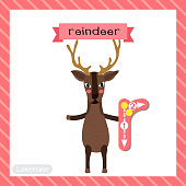 Letter R lowercase tracing. Reindeer standing on two legs
