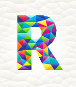 Letter R on triangular pattern mosaic royalty free vector art. Colorful triangles form a mosaic design. This graphic design is set against a white triangular background. The pattern has a modern trendy look and the colors are bright. Icon download includes vector art and jpg file.